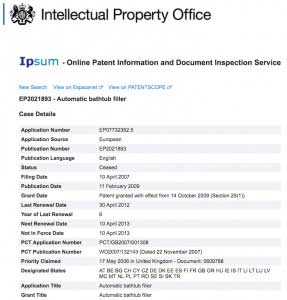 Iptica Bathomatic Patent Register